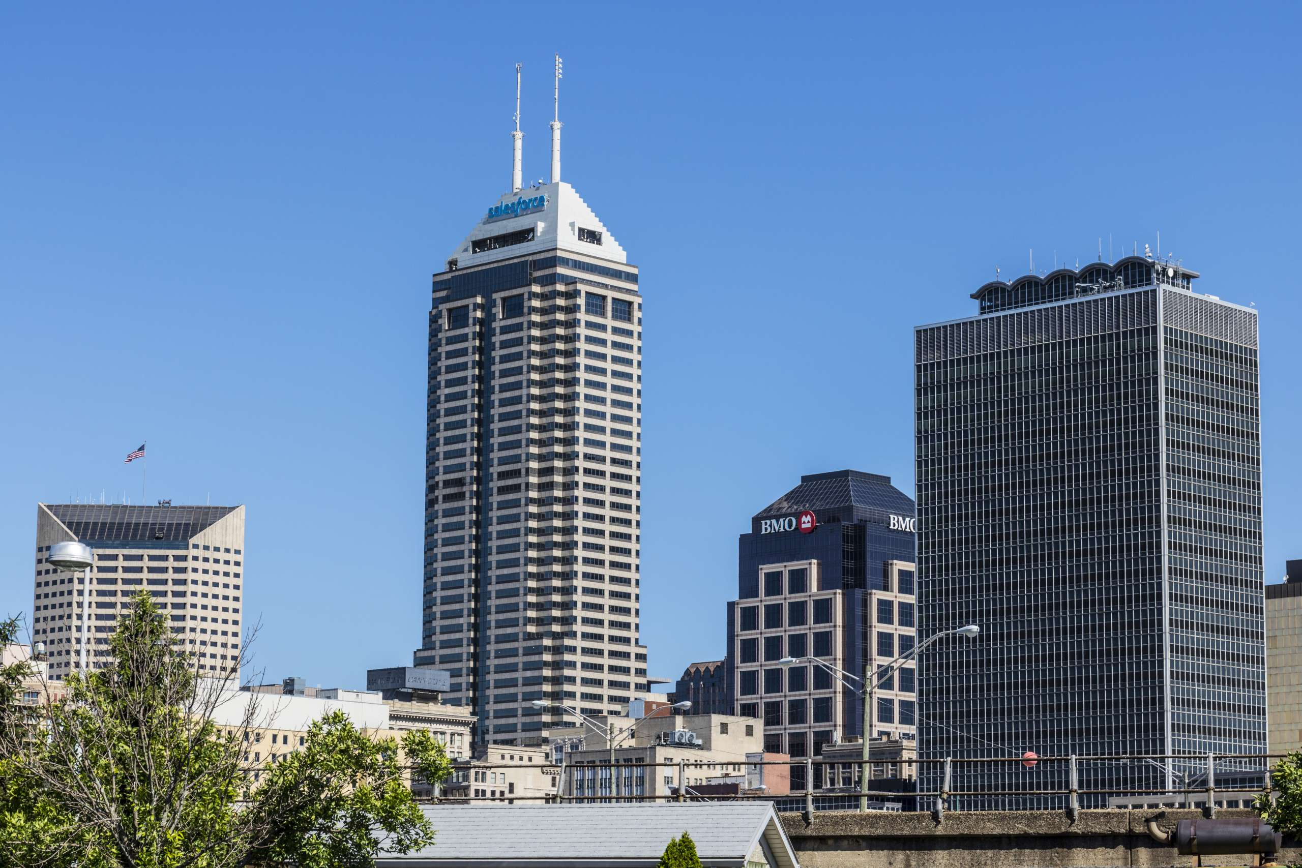Indianapolis – Circa June 2017: Indy's  Downtown Skyline on a Sunny Day with the newly renamed Salesforce Tower VII